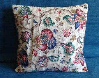 "Handmade cushion cover, original vintage barkcloth fabric, 16"" square, shabby chic"