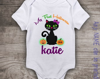 Babies first Halloween shirt personalized 1st Halloween cat onsie bodysuit tshirt matching family t-shirt holidays