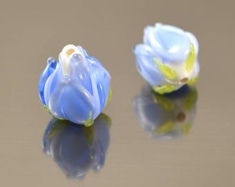 Blue flower lampwork beads, Something blue, Beads for wedding, Wedding earrings, Blue earrings, Blue beads, Blue wedding, Flower glass beads