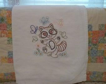 Playful Racoon Flour Sack Dish Towel