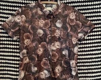 Chocolate Roses 90s button up blouse
