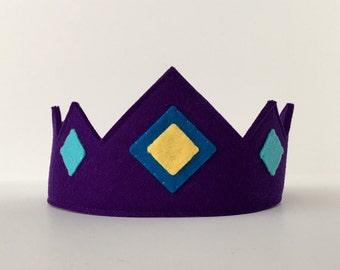 Wool Felt Crown -- merino wool Earth Child crown--royal purple with felt jewels