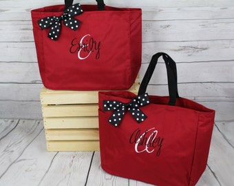 9 Personalized Bridesmaid Gift Tote Bags- Wedding Party Gift- Bridal Party Gift- Initial Tote- Mother of the Bride Gift