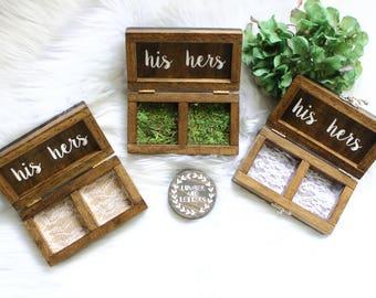 Wedding Ring Box - Ring Bearer Box - Rustic Wedding Ring Box - Wood Ring Box - Primitive Ring Box - Handmade Ring Box - Double Ring Box