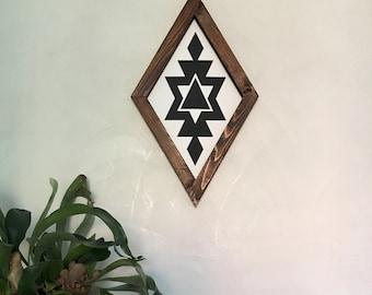 Boho Wood Sign Aztec C diamond white
