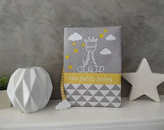 Personalized Giraffe and yellow clouds health book