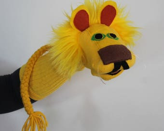 Handmade Yellow Lion Sock Puppet.
