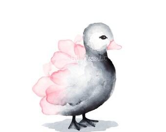 Décor de nurserie pour bébé fille - caneton Art Print pour chambre de bébé fille, bébé filles Room Decor - 8 x 10 / A4 Floral rose/gris canard pépinière Art Print