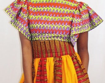 Women's Gathered Sleeve Top with Gathered Skirt