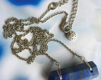 Vintage Lydell NYC Blue Stone Long Pendant Necklace