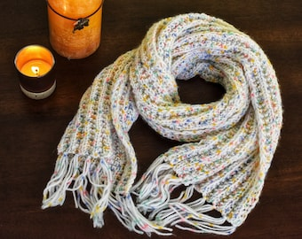 White Sparkle Hand Knitted Scarf