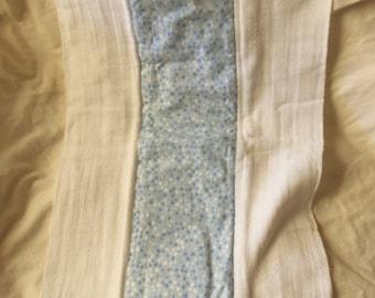 Burp Cloth, Flannel Print, 100% Cotton, Blue Stars, Ready to Ship