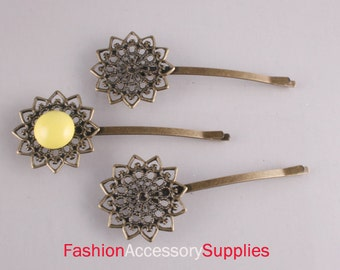 10PCS-Pad 75mm Antique Bronze Bobby Pin with Filigree Pad(E284)