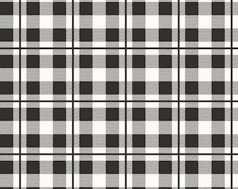 Yes Please Plaid Black - creamy white and black printed plaid - Yes Please collection from Riley Blake - 100% cotton quilting fabric