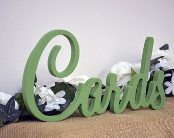 """Cards Sign for Wedding Table - Freestanding """"Cards"""" - Painted Wooden Wedding Sign for Reception Decorations (Style 012)"""