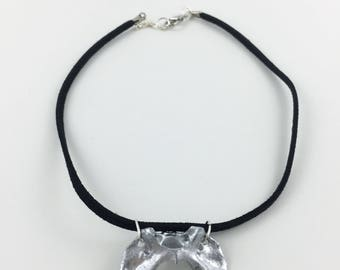Faux Suede Vertebrae Choker Necklace
