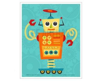Robot Wall Art - Robot 9 Wall Art - Whimsical Robot Art - Modern Robot Print - Baby Boy Nursery Decor - Robot Nursery Wall Art - Robot Decor