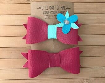Poppy hair bow clips