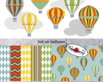 Hot Air Balloons Paper and Elements SET: Digital Scrapbook Paper Pack (300 dpi) Hot Air Balloon Clip Art Blue Green Rust