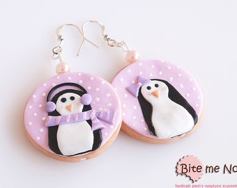 Food Jewelry Penguin Biscuits Hook Earrings, Miniature Food, Polymer Clay Sweets, Christmas Hook Earrings, Christmas Jewelry, Cute Jewelry