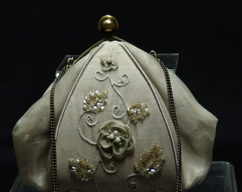 Taupe Silk Evening Bag