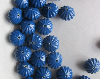 Blue Fluted Acrylic Beads 14x8mm 8 Beads