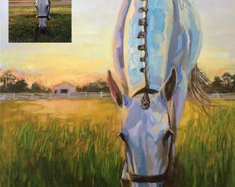 Custom Pet Portrait, Custom Pet Painting, Custom Pet Gift, Custom Oil Painting, Photo to Painting, Commissioned Oil Painting Horse Painting,