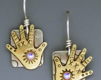 Hand Earrings, Jewelry with Hands, Hand Jewelry, Hands with Crystals Earrings - RP0165ER