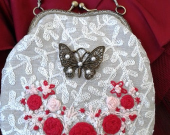 Frame purse, Metal frame  purse,Embroidered  bag, Kiss lock coin purse, prom bag, Wedding bag,clutch,Wedding Purse,  butterfly, Gift for her