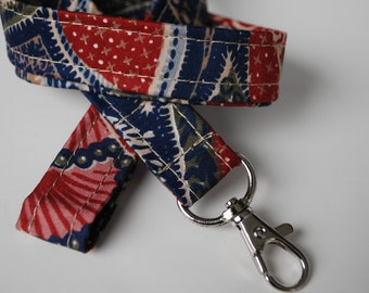Keychain lanyard. Flowers red and blue lanyard. ID badge lanyard. Lobster Claw Clasp