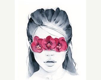 Orchid blindfolded print, Orchid Art Print, Fashion, Art, Woman face, Contemporary Art, Wall Art, Scandinavian