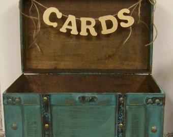 Wedding Card Box, Shabby Chic Card Box, Advice Box, Shabby Chic Wedding, Turquoise Card Box, Wooden Card Box, Rustic Weddding