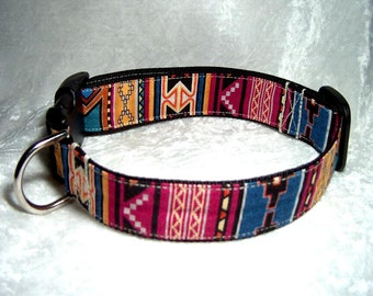 Southwest Designer Dog Collar in Webbing Backed Design