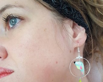 Parrot - cockatoo tassel hoop earrings