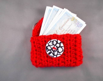 Business Card/Gift Card Key Chain Pouch - Red with Black and White Button