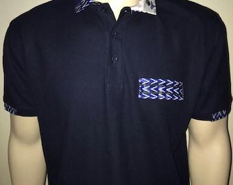 Men Dashiki Polo Navy blue with collar and stripe (blue and white) Black Panther Wakanda Motherdays