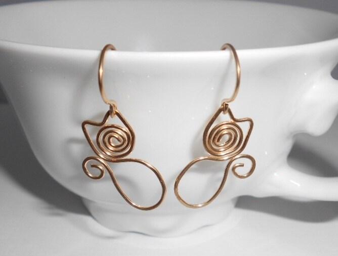 Kitty Cat Earrings 14k Gold Filled Simple Wire Wrap Dangle
