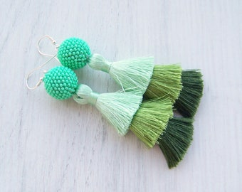 Ombre Green Three Layered Tassel Earrings - Statement  earrings - Tiered Fringe Tassel Earrings - Lightweight Dangle long tassle earrings