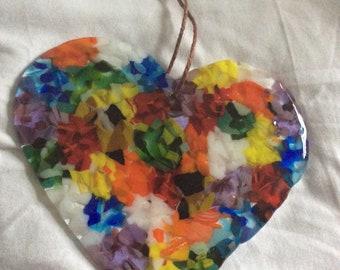 Beautiful large fused glass heart, suncatcher