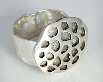 Sterling Silver Lotus Seed Pood Ring, Statement Rings, JewelryByNaomi, Silver Rings, jewelry Gift, Seed Pod Jewelry, Handcrafted Rings