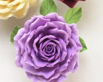 Brooch Purple rose Polymer clay flower