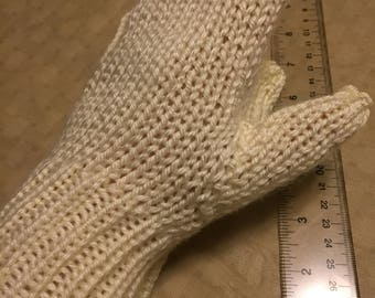 Hand knit soft yellow mittens