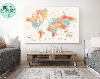 Canvas world map etsy world map push pin printable world map with cities file for printing a canvas world gumiabroncs Images