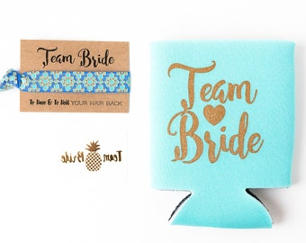 Aqua + Gold Team Bride Bachelorette Gift Set | Metallic Gold Tattoo, Hair Tie + Drink Cooler | Bachelorette Party Favor
