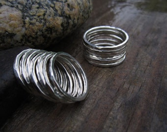 Single Hammered Stacking Sterling Silver Band Ring - Solid Sterling - Minimalist - Stacking Ring