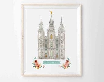 "LDS Salt Lake City Temple Print - Personalized - Archival 8""x10"" - SLC Temple"