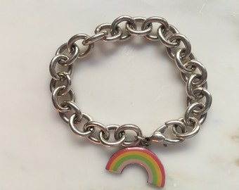 Vintage 70s silver tone chain bracelet with rainbow charm
