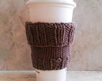 2 in 1 Coffee Cup Cozy Hand Knit Warm Brown fit a Short or Grande sized Coffee to go Hand Knit Cotton Fabric