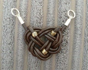 Brown Leather Celtic Knot Necklace