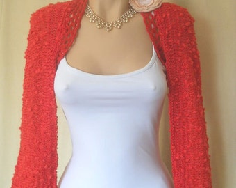 LIQUIDATION Stock 30% OFF Women Bolero Shrug Wedding Bridal Accessories Cape Hand Knitted Red Ready To Ship Crochet Elegant Capelet Cardigan